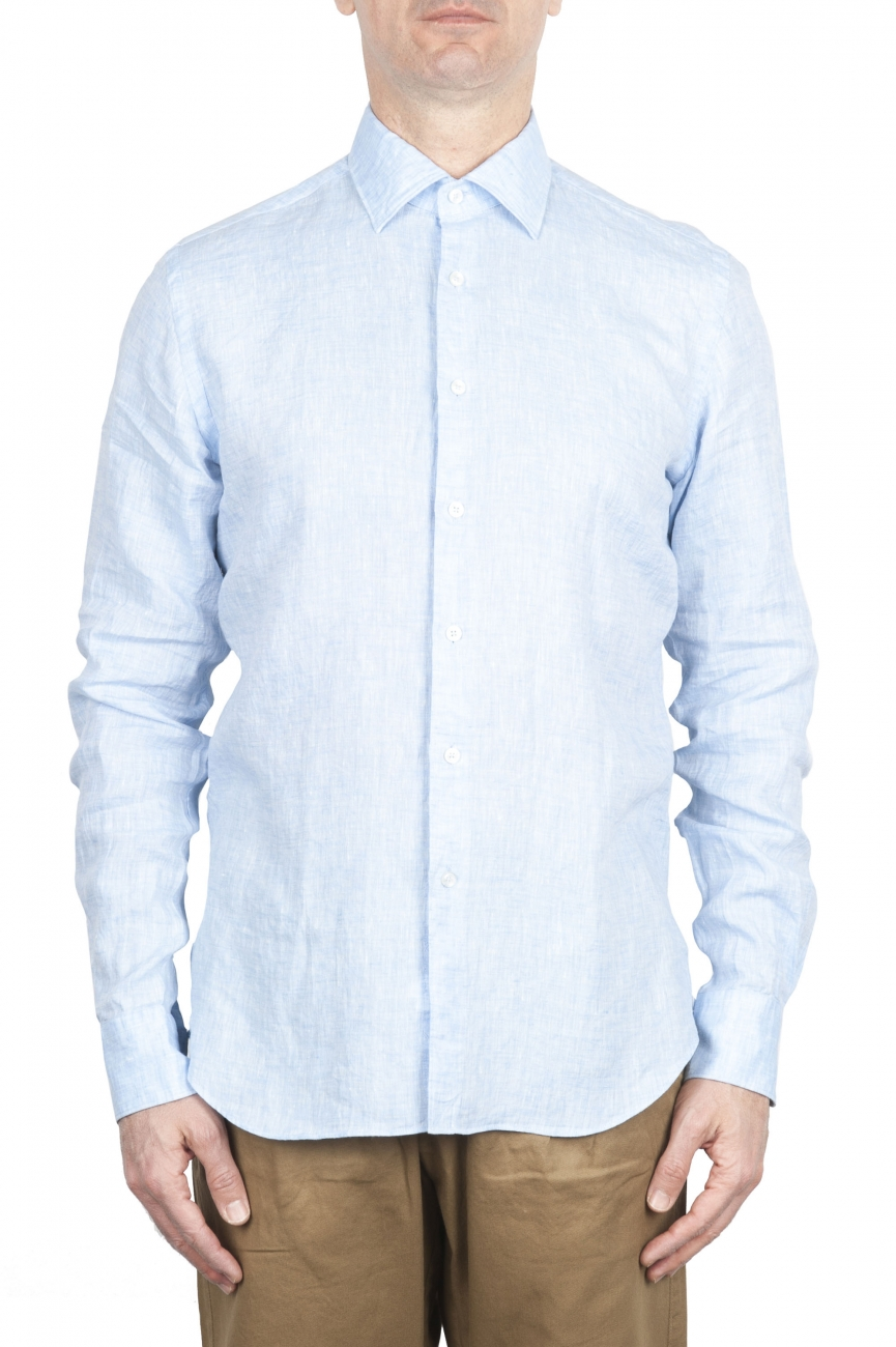 SBU 01620 Camisa clásica de lino azul claro 01