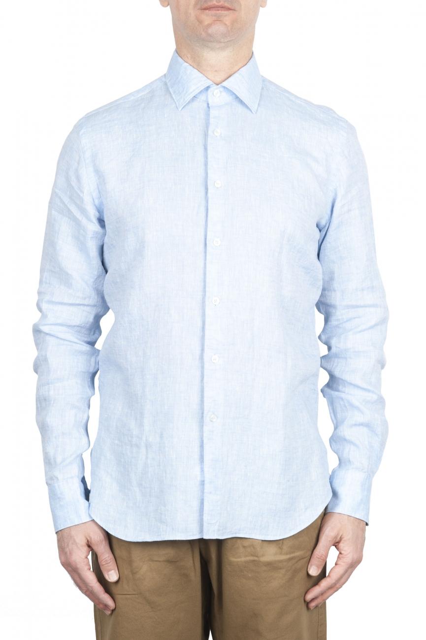 SBU 01620 Classic light blue linen shirt 01