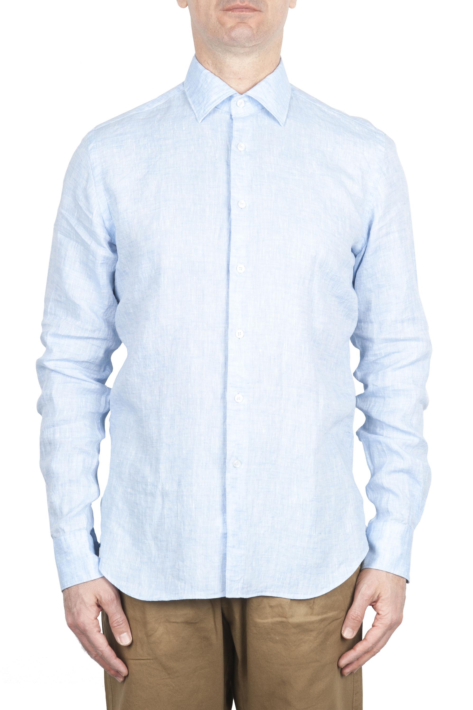 SBU 01620 Camicia classica in lino celeste 01