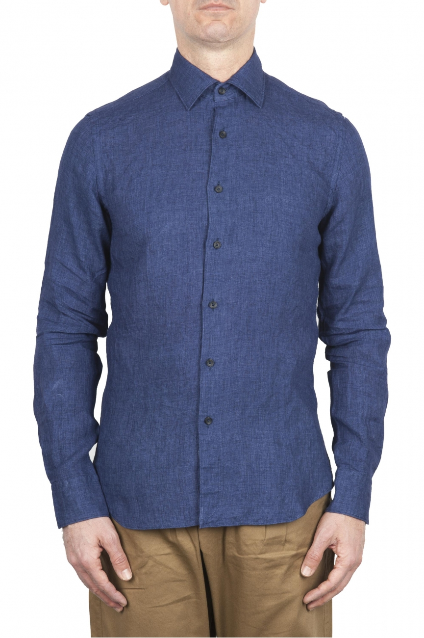 SBU 01621 Classic China blue linen shirt 01