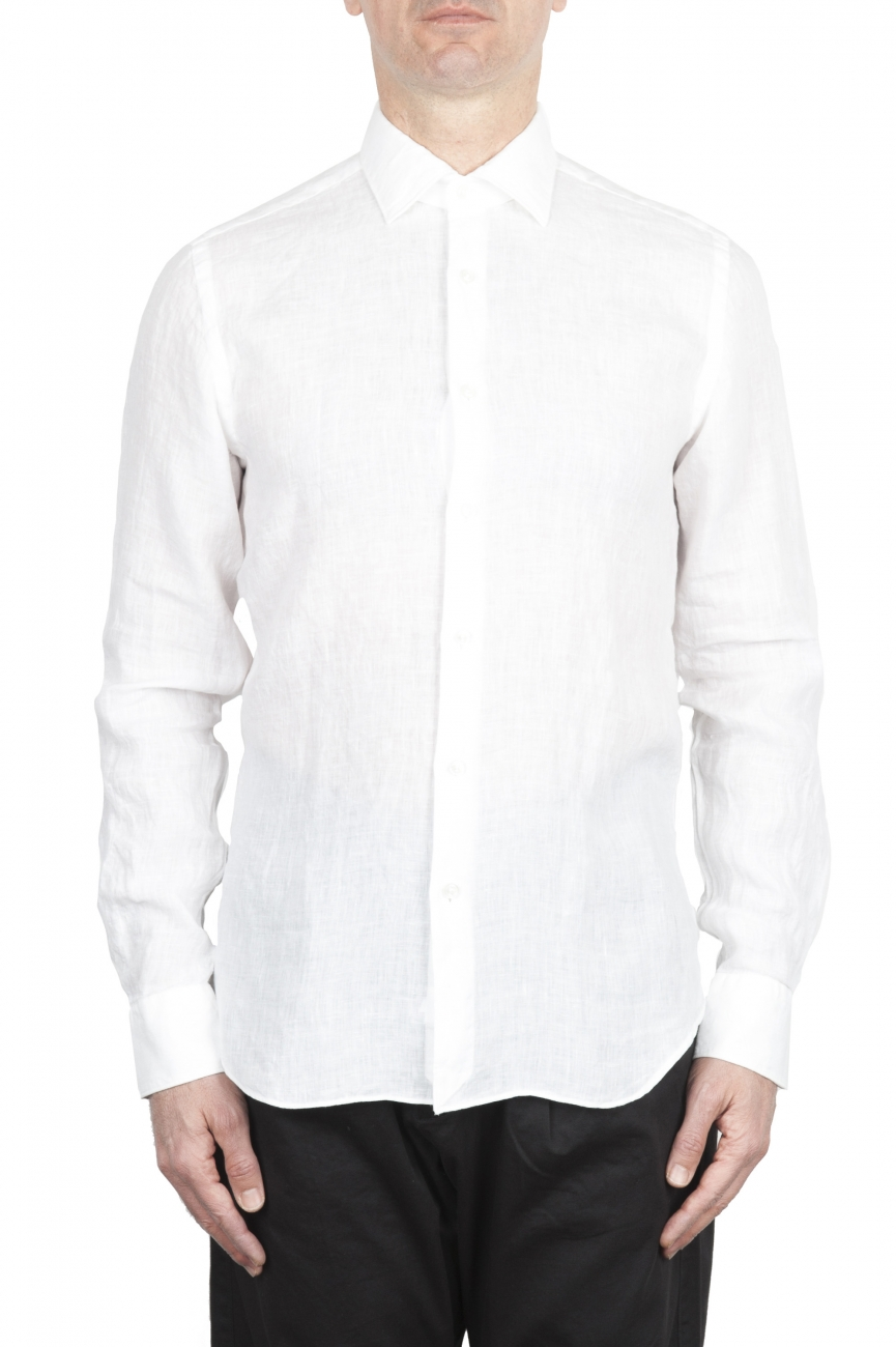 SBU 01622 Camicia classica in lino bianca 01