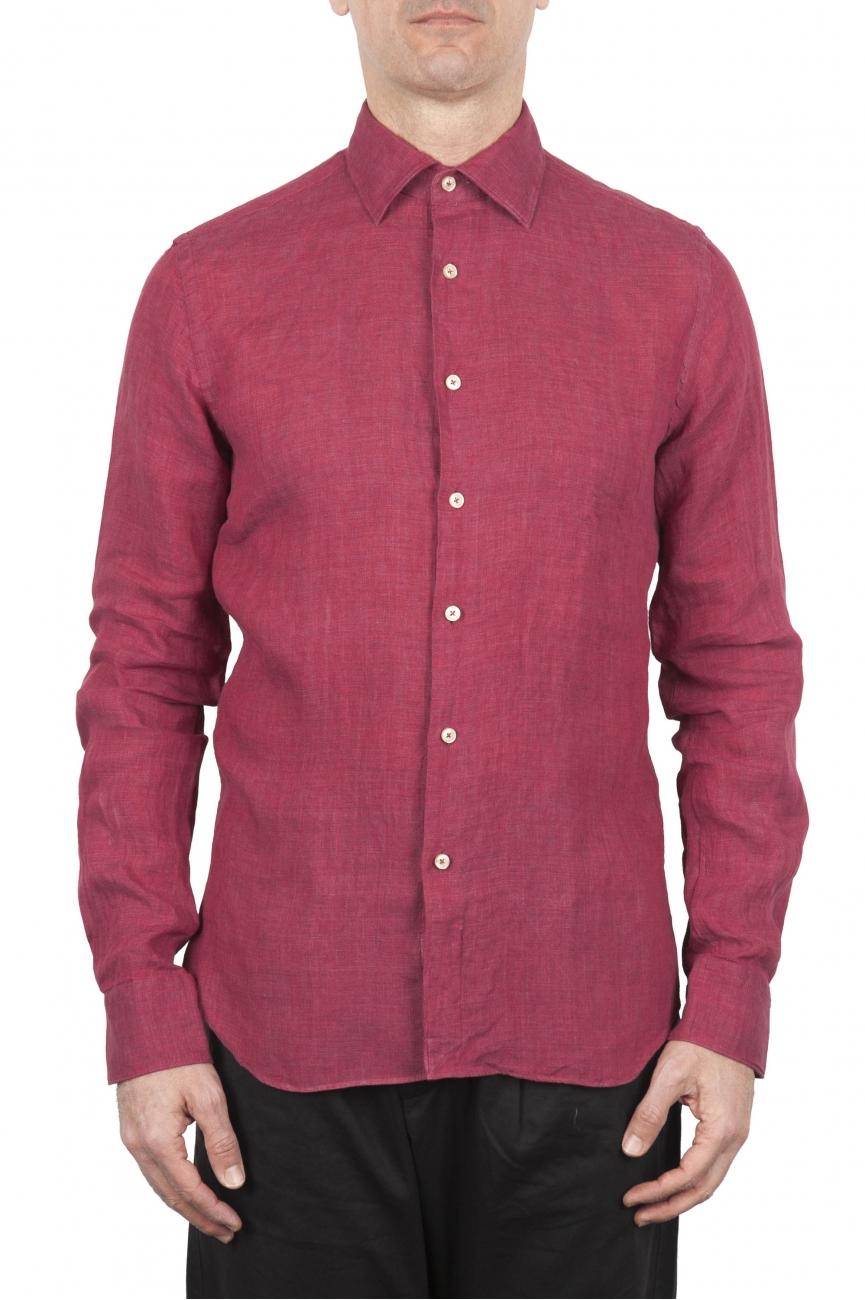 SBU 01623 Camicia classica in lino rossa 01