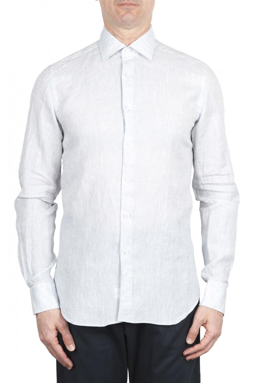 SBU 01624 Camicia classica in lino grigio perla 01