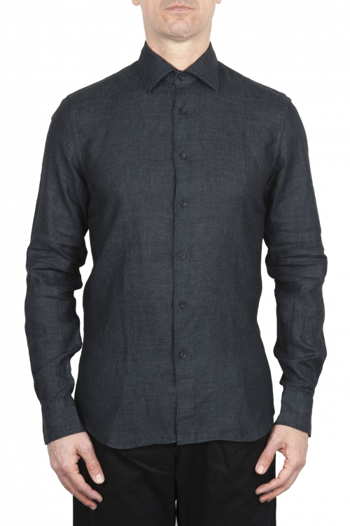 SBU 01625 Camisa clásica de lino gris oscuro 01