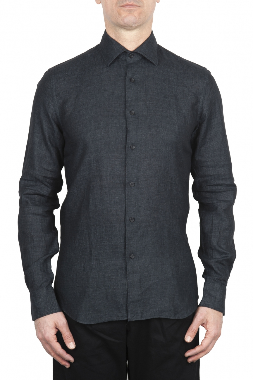 SBU 01625 Camicia classica in lino grigio scuro 01