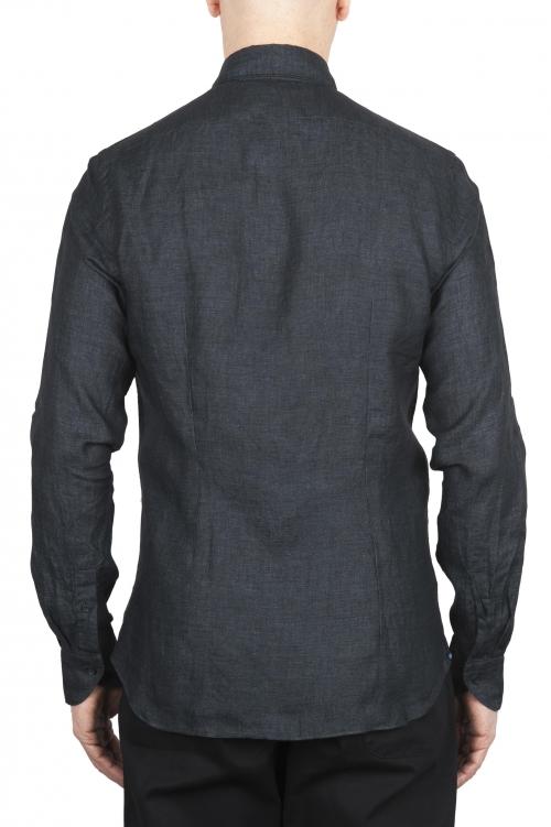 SBU 01625 Classic dark grey linen shirt 01