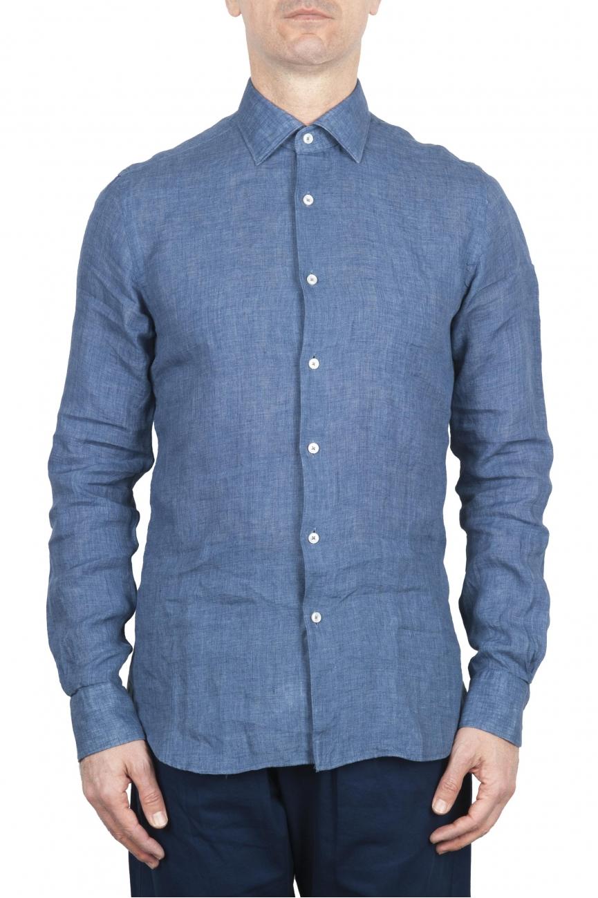 SBU 01626 Classic blue linen shirt 01