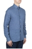 SBU 01626 Camisa clásica de lino azul 02