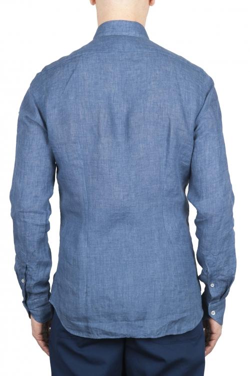 SBU 01626 Chemise en lin bleu classique 01
