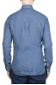 SBU 01626 Camisa clásica de lino azul 05
