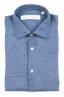 SBU 01626 Camicia classica in lino blu 06