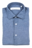 SBU 01626 Camisa clásica de lino azul 06