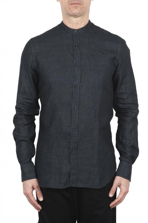 SBU 01627 Classic mandarin collar grey anthracite linen shirt 01