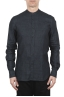 SBU 01627 Camicia classica con collo coreano in lino grigio antracite 01