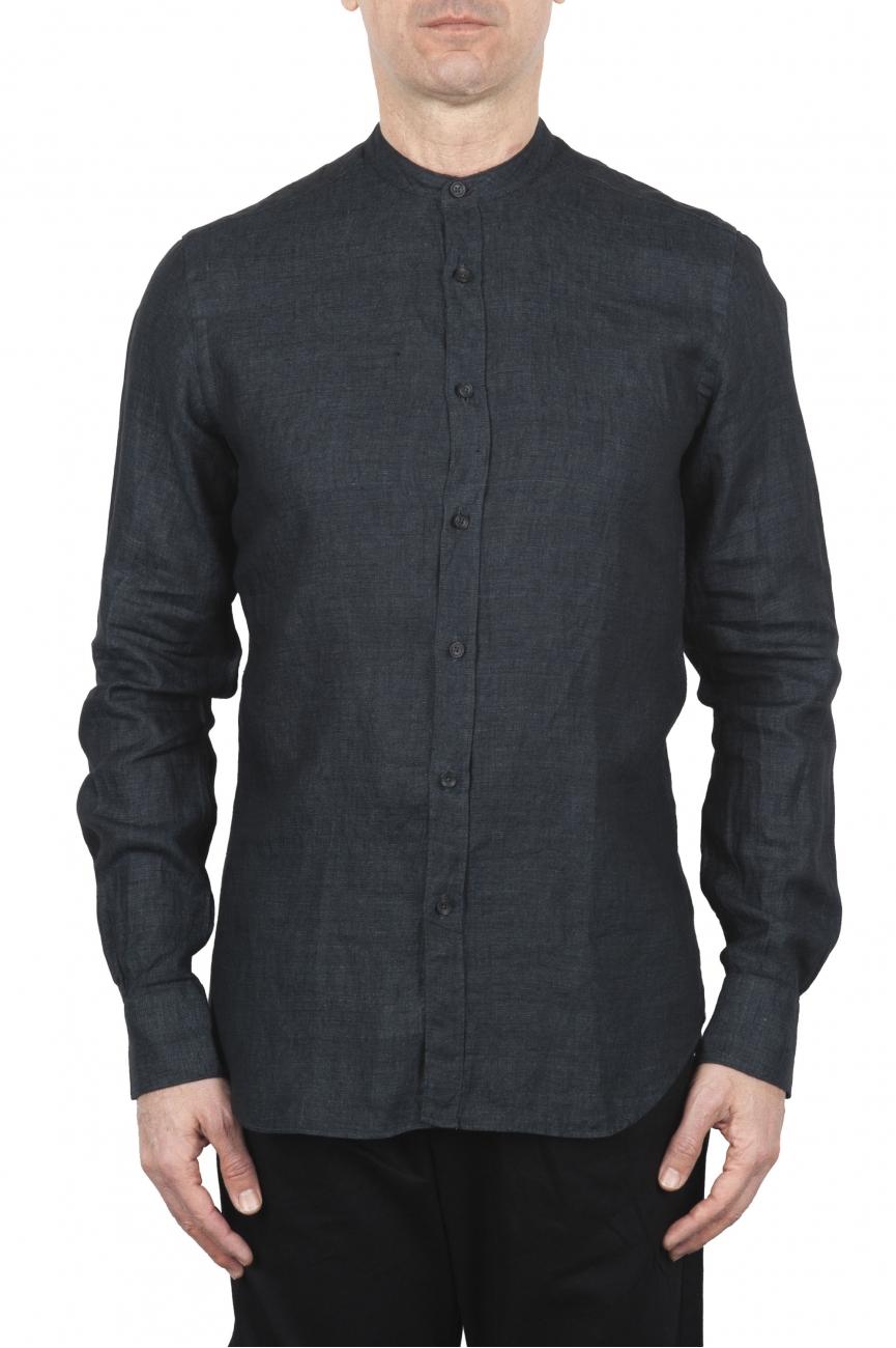 SBU 01627 クラシックマンダリンカラーグレー無煙炭リネンシャツ 01