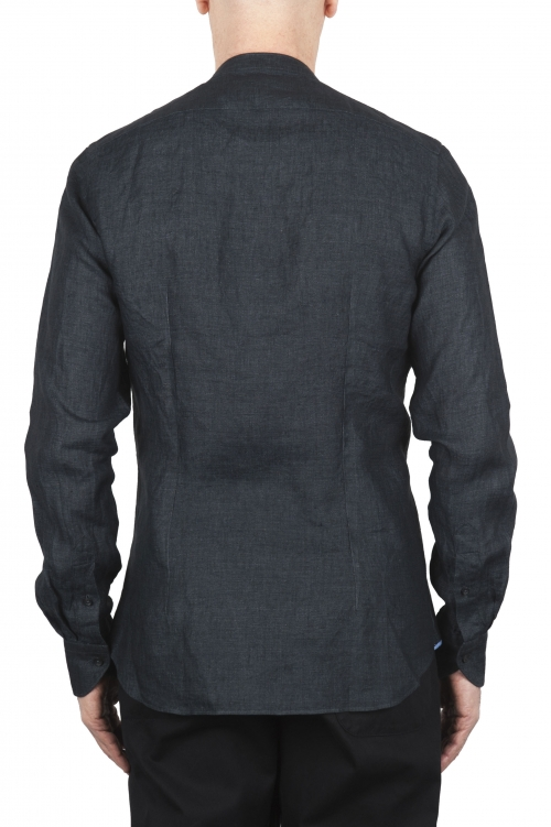SBU 01627 Camisa clásica gris antracita de lino de cuello mao 01