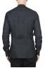 SBU 01627 Camicia classica con collo coreano in lino grigio antracite 05