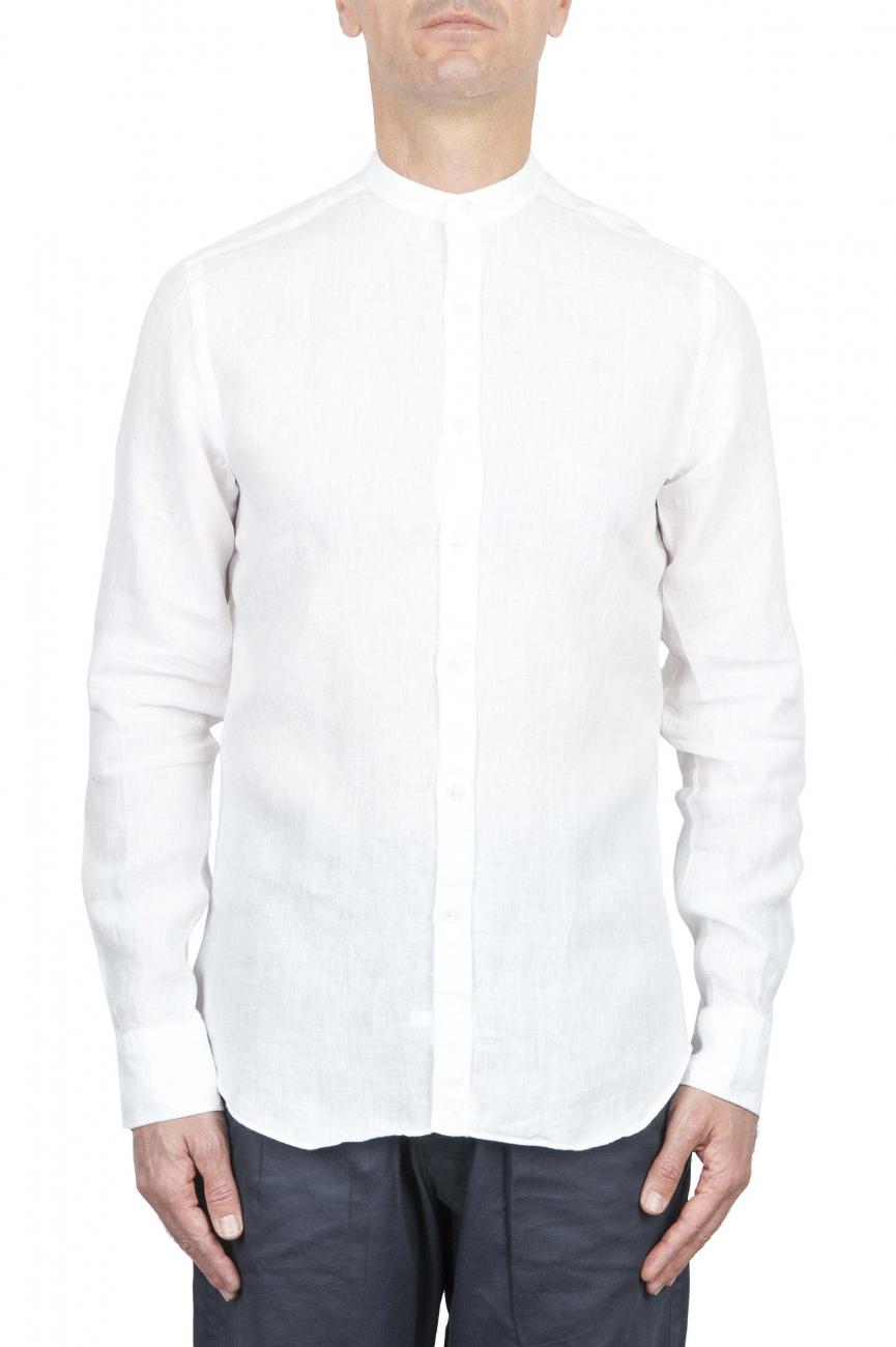 SBU 01628 Camicia classica con collo coreano in lino bianca 01