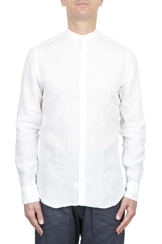 SBU 01628 Classic mandarin collar white linen shirt 01
