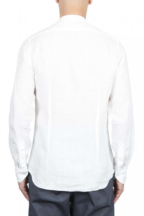 SBU 01628 クラシックマンダリンカラーホワイトリネンシャツ 01