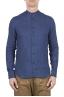 SBU 01629 Camisa clásica azul de lino de cuello mao 01