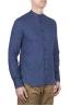 SBU 01629 Camicia classica con collo coreano in lino blu 02
