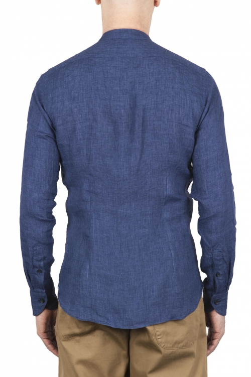 SBU 01629 クラシックマンダリンカラーブルーリネンシャツ 01