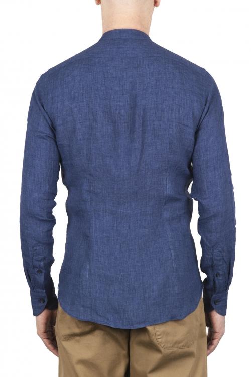 SBU 01629 Camicia classica con collo coreano in lino blu 01