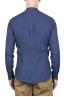 SBU 01629 Camicia classica con collo coreano in lino blu 05