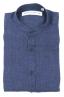 SBU 01629 Camicia classica con collo coreano in lino blu 06