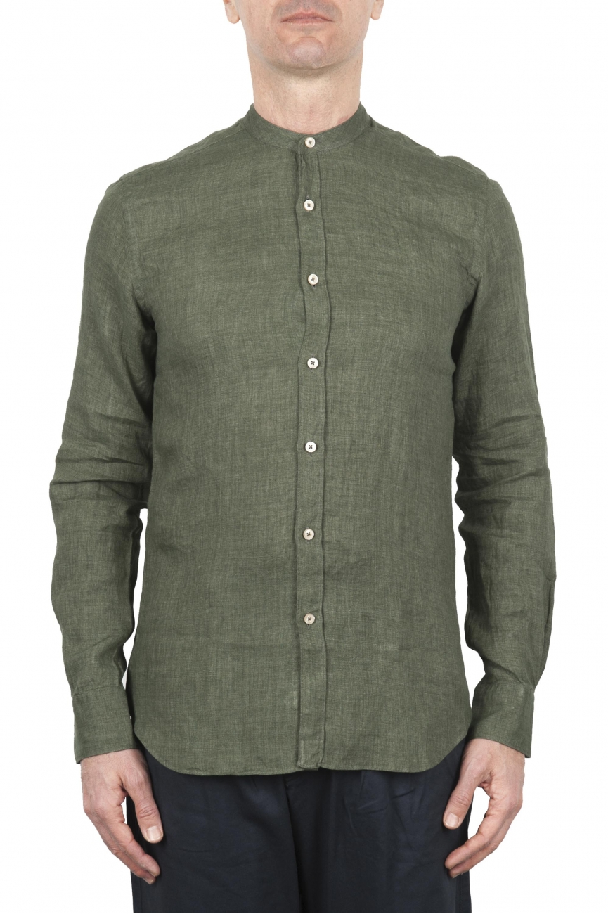 SBU 01630 Camicia classica con collo coreano in lino verde 01