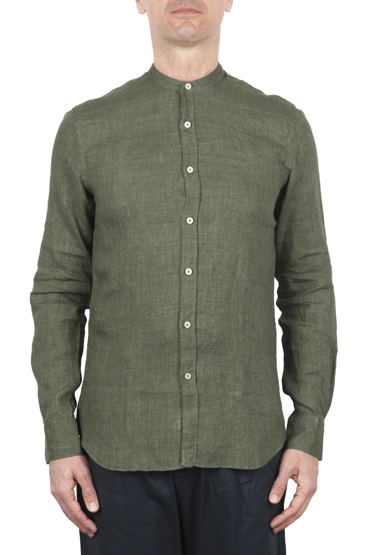 SBU 01630 Classic mandarin collar green linen shirt 01
