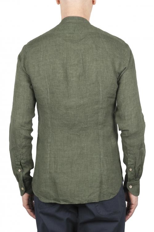 SBU 01630 クラシックマンダリンカラーグリーンリネンシャツ 01