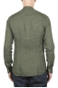 SBU 01630 Camicia classica con collo coreano in lino verde 05