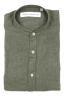 SBU 01630 Camicia classica con collo coreano in lino verde 06