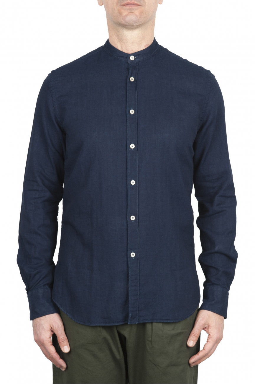 SBU 01631 Camicia classica con collo coreano in cotone indaco 01