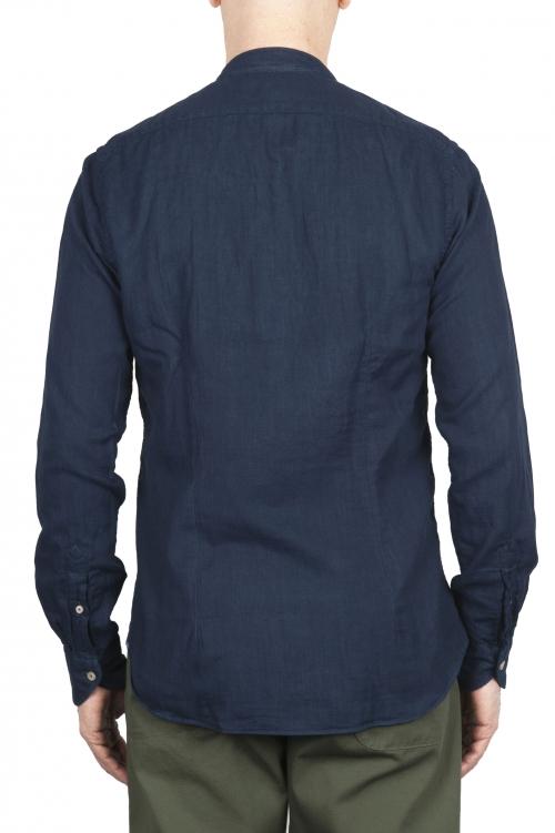 SBU 01631 クラシックマンダリンカラーインディゴコットンシャツ 01