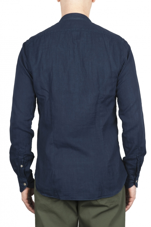 SBU 01631 Classic mandarin collar indigo cotton shirt 01