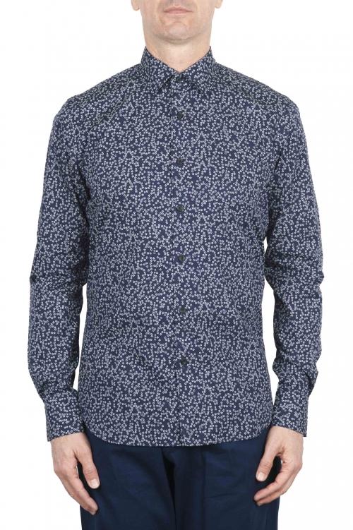 SBU 01632 Camisa de algodón estampado floral azul 01