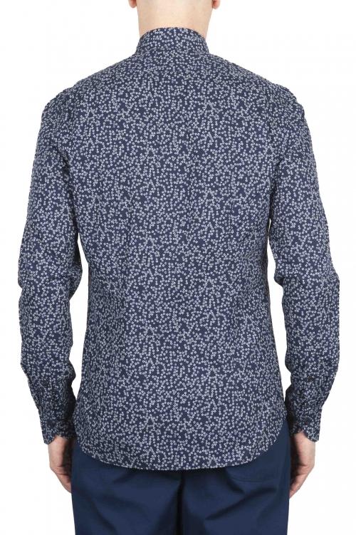 SBU 01632 Camicia fantasia floreale in cotone blu 01