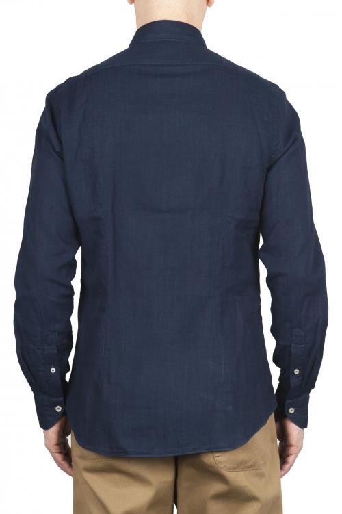 SBU 01633 Camicia classica in cotone tinta con puro indaco 01