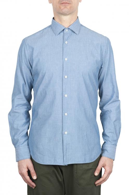 SBU 01634 Camicia in cotone chambray indaco chiaro  01