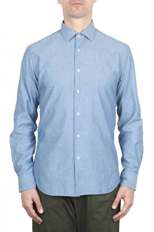 SBU 01634 Pale indigo chambray cotton shirt 01