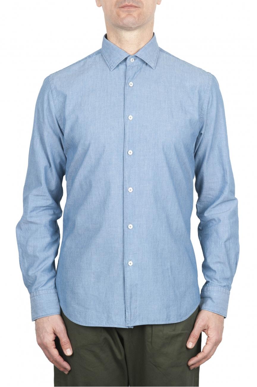 SBU 01634 Camisa de algodón de cambray índigo pálido 01