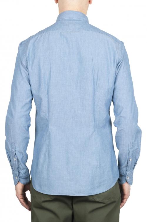 SBU 01634 Chemise en coton chambray indigo pâle 01