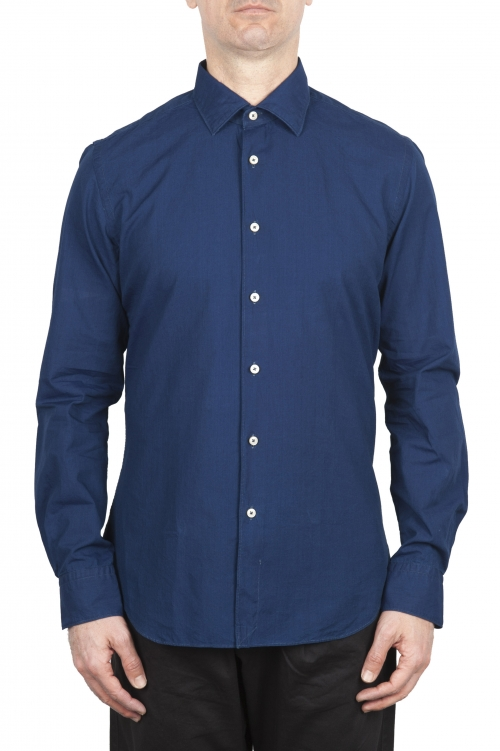 SBU 01635 Dark indigo chambray cotton shirt 01