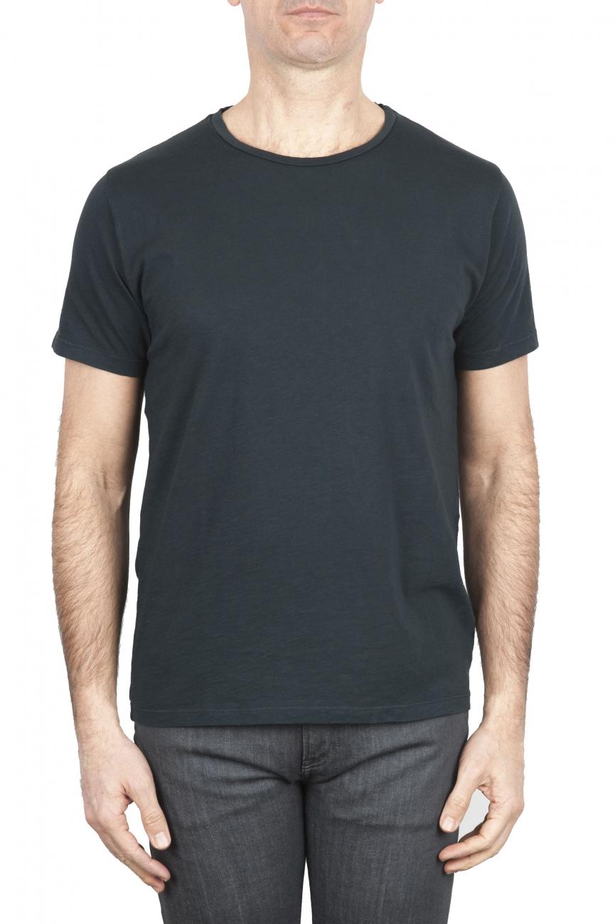 SBU 01636 T-shirt girocollo aperto in cotone fiammato antracite 01