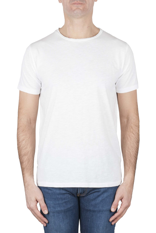 SBU 01637 T-shirt girocollo aperto in cotone fiammato bianca 01