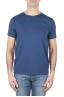 SBU 01638 T-shirt girocollo aperto in cotone fiammato blu 01