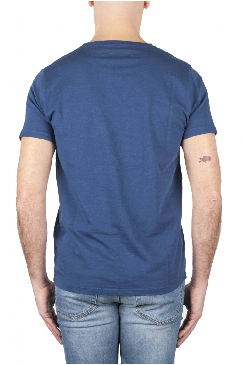 SBU 01638 Camiseta de algodón con cuello redondo en color azul 01